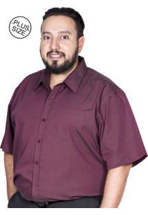 Camisa Plus Size Bigshirts Manga Curta Maquineta - Vinho