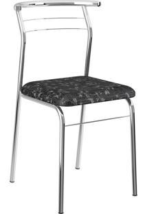 Kit 2 Cadeira 1708 Tecil Fantasia Preto Carraro Móveis