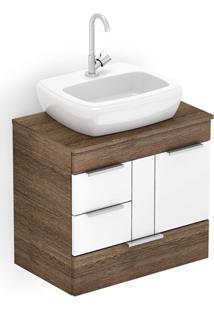 Gabinete Para Banheiro Em Mdf Com Cuba Fit 60X38Cm Wengué E Branco
