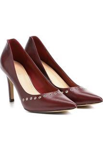 Scarpin Couro Shoestock Salto Alto Rocker - Feminino-Bordô