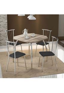 Mesa 1504 Nogueira Cromada Com 4 Cadeiras 154 Preta Carraro
