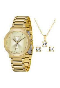 Kit De Relógio Analógico Lince Feminino + Brinco + Colar - Lrgh099L Kw46C1Kx Dourado