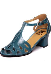 Sandalia Feminina Azul Em Couro - Riverside 7853 - Kanui