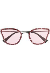 Valentino Eyewear Crystal Embellished Sunglasses - Preto