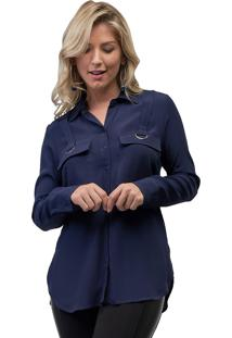 Camisa Mx Fashion Viscose Zaira Azul Marinho