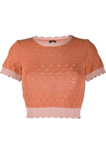 Pinko Blusa Decote Careca De Tricô - Laranja