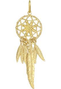 Pingente Prata Mil Apanhador De Sonhos Com 7 Penas Dourado - Kanui