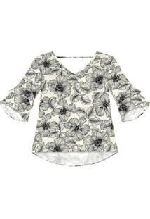 Blusa Viscose Endless Feminina - Feminino-Branco+Preto