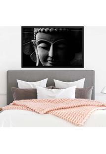 Quadro Com Moldura Buddha Em Cinza Preto - Médio