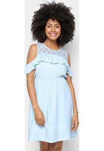 Vestido Pérola Curto Evasê Detalhe Babado Renda - Feminino-Azul Claro