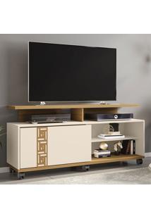Rack Para Tv 52 Polegadas 1 Porta Topázio Cinamomo/Off White - Móveis Bechara