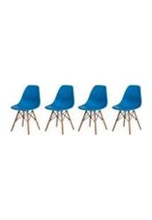 Kit 4 Cadeiras Charles Eames Eiffel Azul Base Madeira Sala Cozinha Jantar