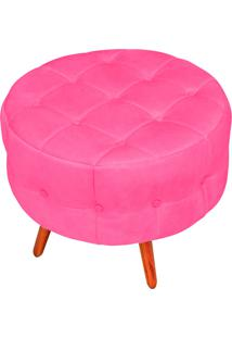 Puff Decorativo Botonê Yasmin Suede Rosa Barbie Pés Palito - D'Rossi