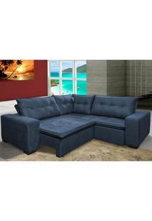 Sofa De Canto Retrátil E Reclinável Com Molas Cama Inbox Oklahoma 2,30M X 2,30M Suede Velusoft Azul