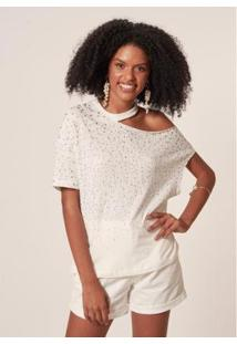 T-Shirt Mob Open Shoulder Aplicação Feminina - Feminino-Branco