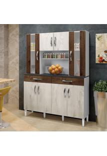 Armário De Cozinha Nevada/Cacau 08 Portas 02 Gavetas - Arte Móveis