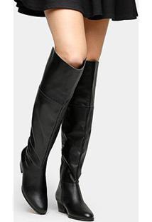 Bota Couro Over The Knee Shoestock Zíper Feminina - Feminino-Preto
