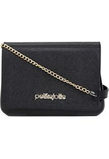 Bolsa Petite Jolie Mini Bag One Alça Corrente Feminina - Feminino-Preto