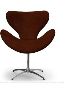 Cadeira Decorativa Poltrona Egg Marrom Com Base Giratória