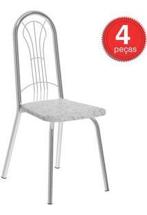 Cadeira 182 Cromada 04 Unidades Tecil/Fantasia Branco Carraro