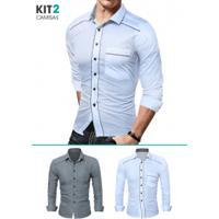 32edc7dfc Kit 2 Camisas Sociais Masculinas Slim Fit Com Detalhe Estampado Manga Longa  - Cinza E Branco
