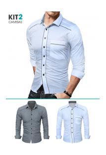 Kit 2 Camisas Sociais Masculinas Slim Fit Com Detalhe Estampado Manga Longa - Cinza E Branco