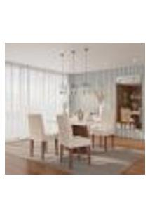 Conjunto De Mesa De Jantar Munique I Com Tampo De Vidro Off White E 4 Cadeiras Grécia Veludo Creme