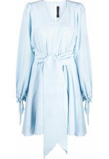 Federica Tosi Vestido Evasê De Seda Com Amarração Na Cintura - Azul