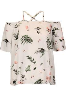 Blusa Ombro A Ombro Alças Cruzadas Khelf Floral Bege