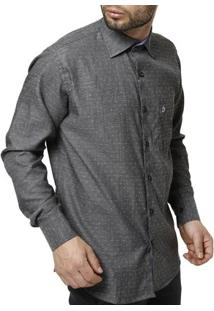Camisa Di Marcus Manga Longa Masculina - Masculino-Cinza