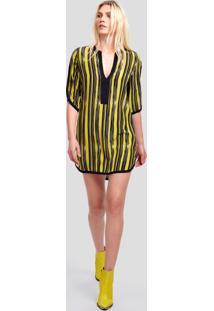 Vestido De Seda Curto Com Pate Lisa E Detalhe Vies Largo Est Listra John Amarelo - 38