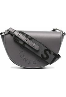 Stella Mccartney Bolsa Tiracolo Mini Meia-Lua Com Logo - Cinza