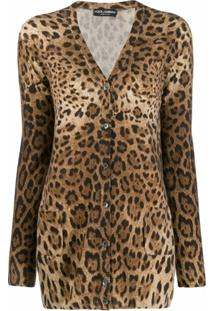 Dolce & Gabbana Cardigan Animal Print - Marrom