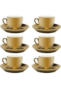 Jogo 6 Xícaras De Café C/ Pires Wolff Porcelana 90Ml Dourado/Branco