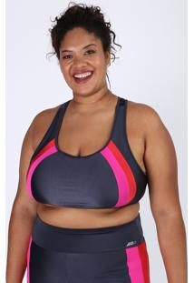 Top Feminino Plus Size Esportivo Ace Color Block Decote Nadador Sem Bojo Chumbo