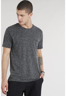 Camiseta Masculina Com Linho E Bolso Manga Curta Gola Careca Cinza Mescla Escuro