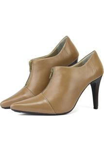 Ankle Boot Couro Sapatofran Feminina - Feminino-Bege