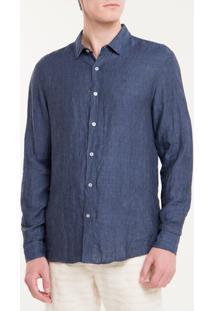 Camisa Regular Cannes Linen - Azul Marinho - 1