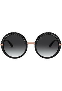 Dolce & Gabbana Eyewear Óculos De Sol Redondo Plissé - Preto