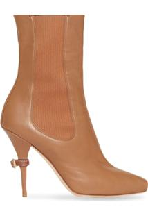 Burberry Leather Peep-Toe Ankle Boots - Marrom