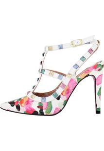 Scarpin Salto Alto Week Shoes Inspired Croco Multicolor Branco