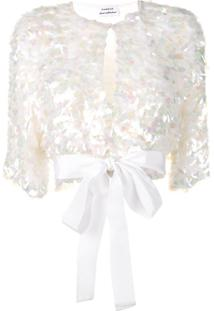 P.A.R.O.S.H. Sequin Cropped Jacket - Branco