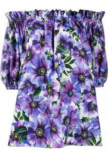 Dolce & Gabbana Blusa Ombro A Ombro Com Estampa Floral - Roxo