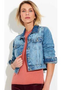 Jaqueta Jeans Feminina Cropped Com Aplicação De Tachas