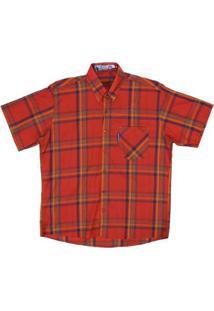 Camisa Manga Curta Xadrez Rodeo Westrn Masculina - Masculino-Vermelho