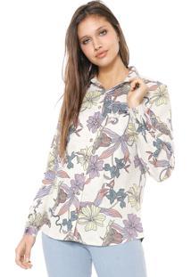 Camisa Linho Hering Floral Off-White