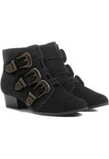 Bota Couro Shoestock Cano Curto 3 Fivelas Feminina - Feminino