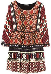 Vestido Desigual Curto Estampado Vinho - Kanui