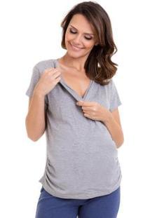 Camiseta Gestante E Amamentação Verão Luna Cuore Feminina - Feminino-Cinza