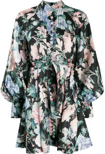 Zimmermann Vestido Com Estampa Floral - Preto